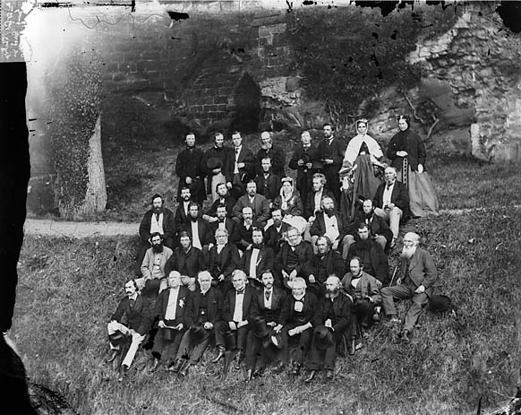 [A group in Rhuthun castle during the eisteddfod (1868)]
