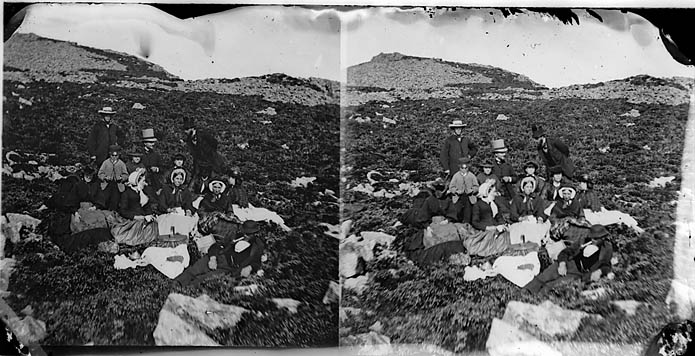 [A picnic on the mountain (stereograph)]
