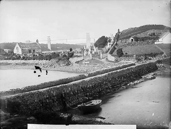[The church, Llandysilio (Anglesey) with Britannia Bridge]