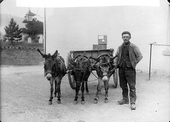 [Llanfair carrier with his donkeys]