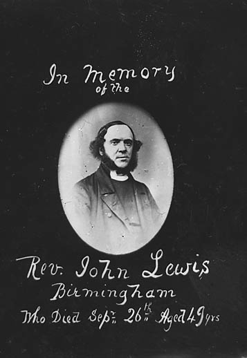 In memory of the Rev John Lewis, Birmingham