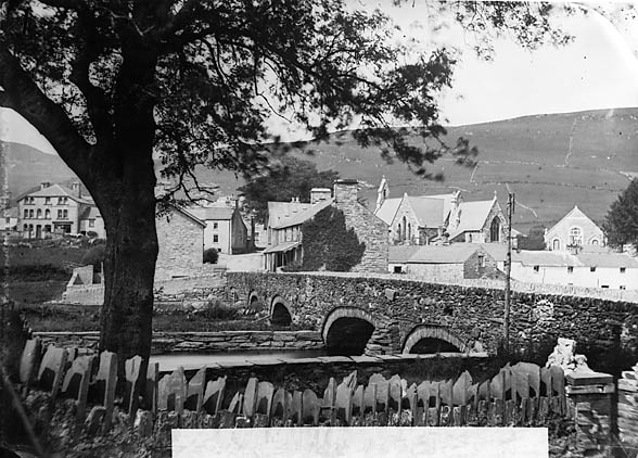[A view of Penmachno from the Machno Hotel]