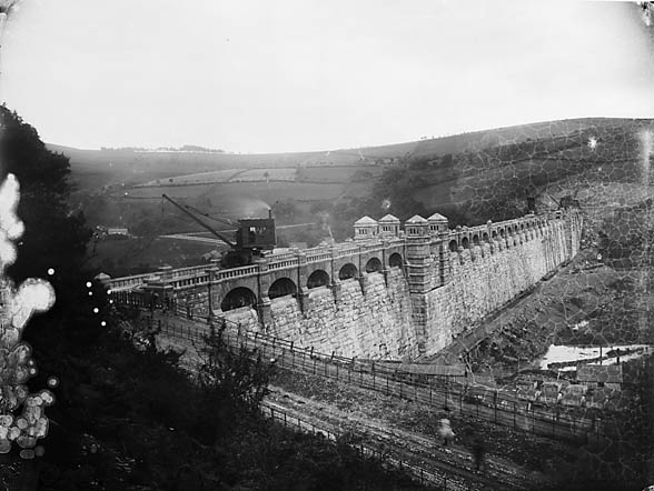 [Llanwddyn dam, looking from the side of the lake]