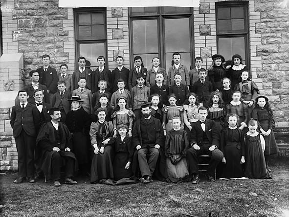 [Teachers and pupils of Narberth Itermediate School]