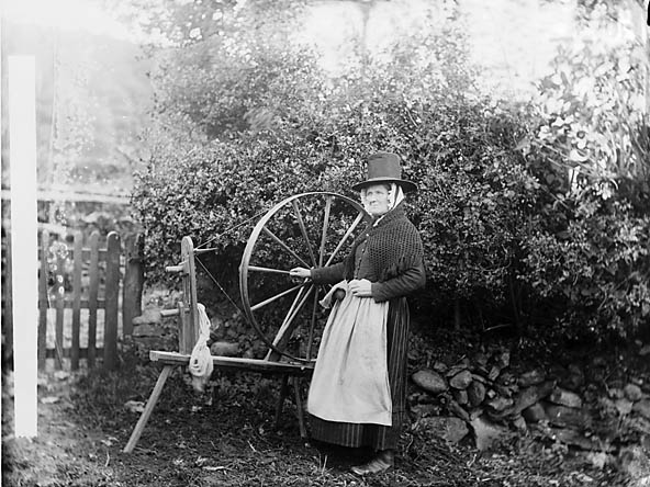 [Margaret Evans and her spinning wheel, Y Gyffylliog]