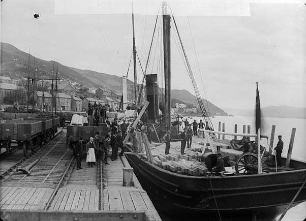 [Unloading timber, Aberdyfi]