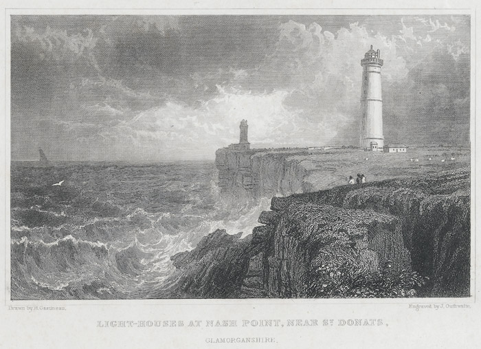 Light-houses at Nash Point, near St. Donats, Glamorganshire