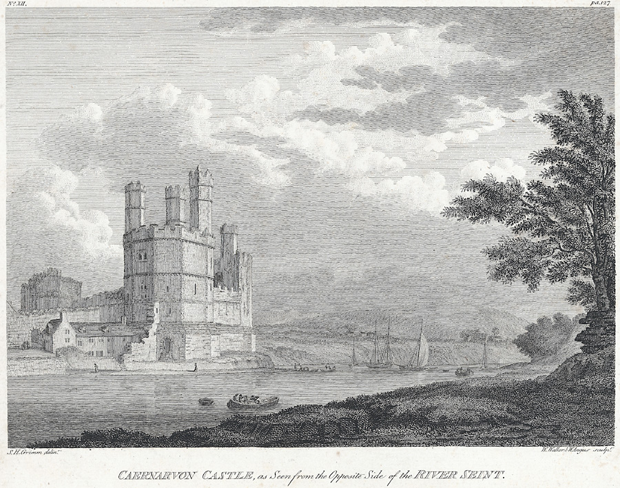 Caernarvon Castle,as seen from the Opposite Side of the River Seint
