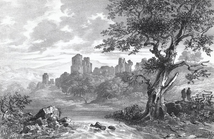 The ruins of Caerphilly castle from the west Glamorganshire