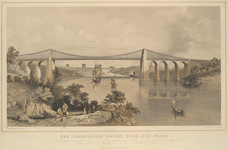 The suspension bridge over the Menai