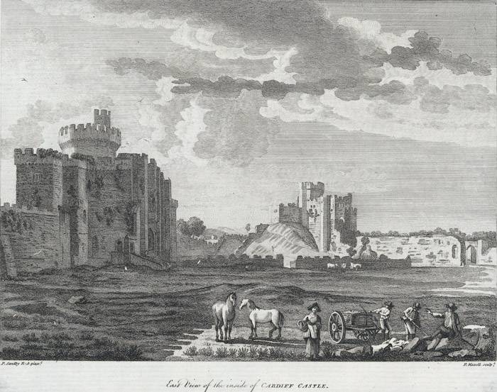 East view of the inside of Cardiff castle