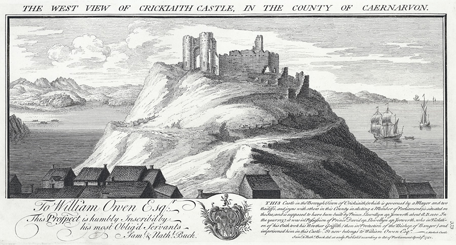 The west view of Crickiaith [Criccieth] Castle, in the county Of Caernarvon