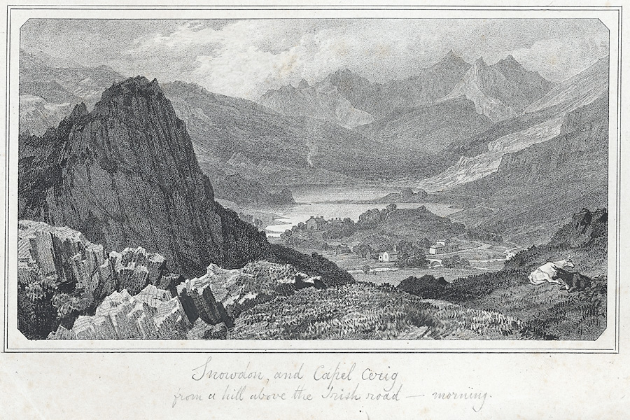 [Snowdon, and Capel Cerig from a hill above the Irish road.]