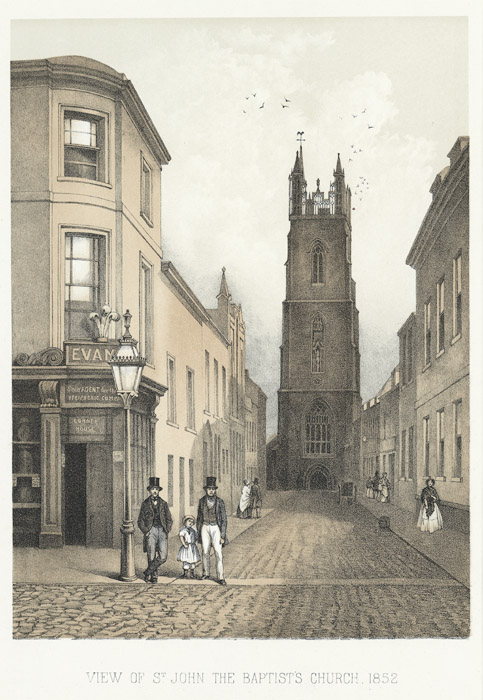 View of St. John the baptist church, 1852
