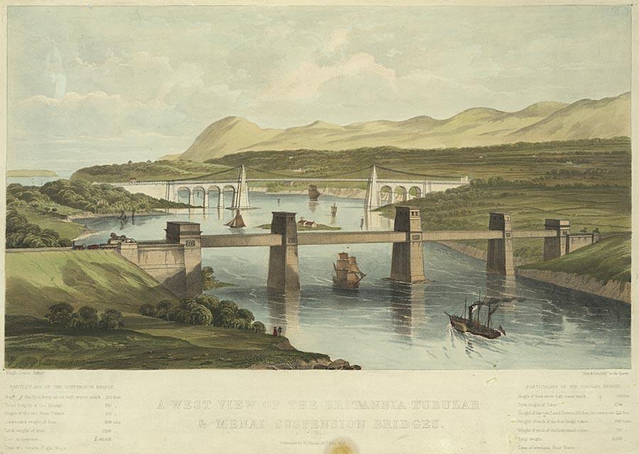 A west view of The Britannia Tubular & Menai Suspension Bridges