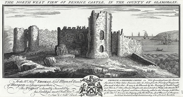 The north west view of Penrice castle, in the county of Glamorgan