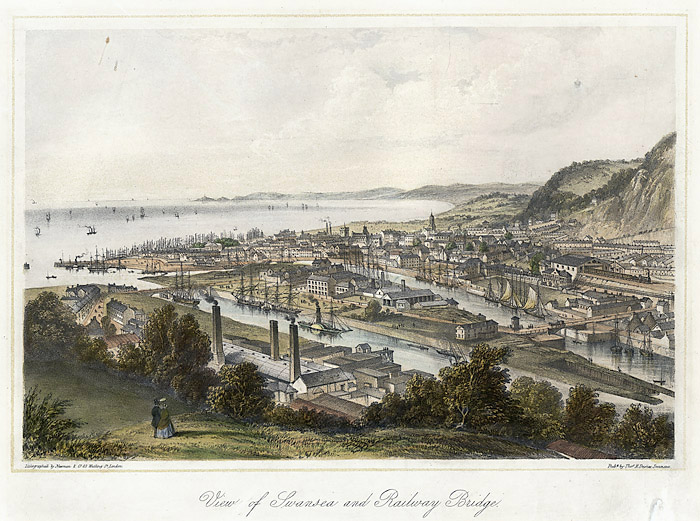View of Swansea and railway bridge