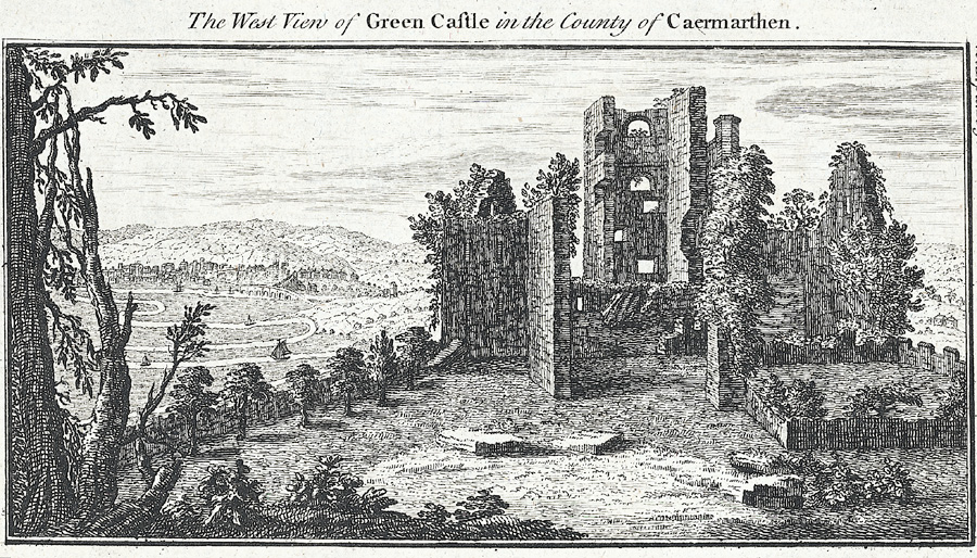 The West View of Green Castle in the County of Caermarthen
