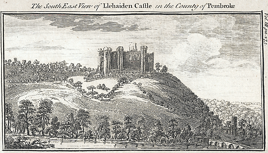 The South East View of Llehaiden Castle in the County of Pembroke