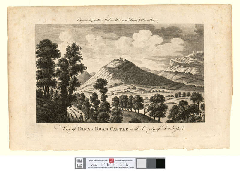View of Dinas Bran castle, in the county of Denbigh