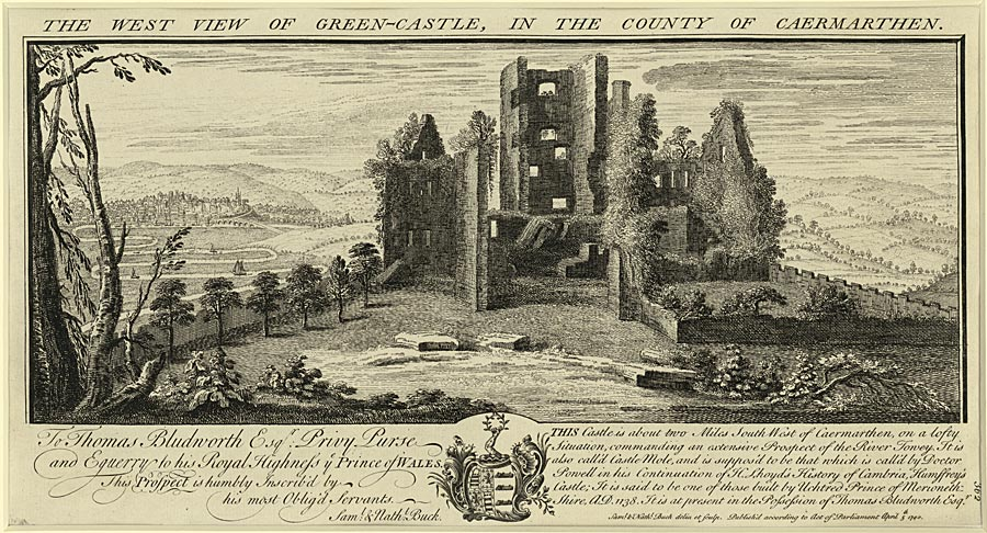 The west view of Green Castle, in the county of Caermarthen