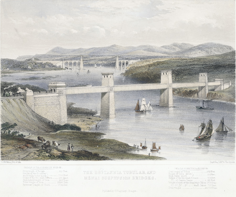 The Britannia tubular and Menai suspension bridges