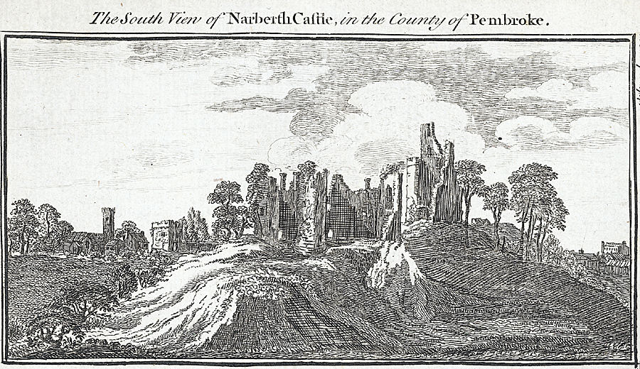 The South View of Narberth Castle, in the County of Pembroke