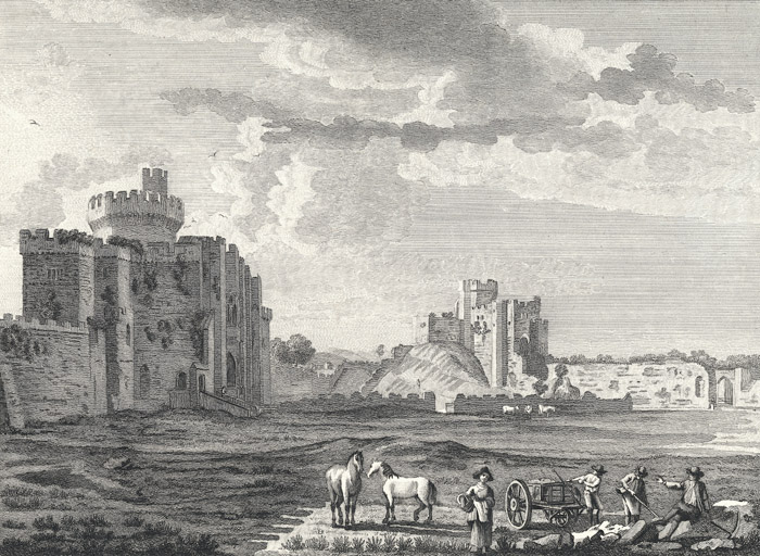 [East view of the inside of Cardiff castle]
