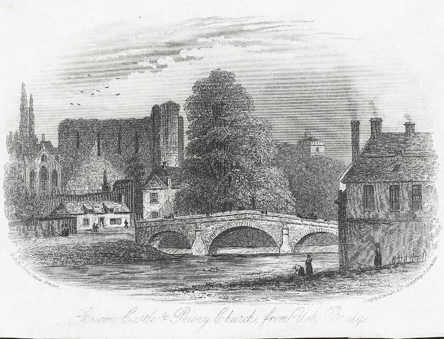Brecon Castle & Priory Church, from Usk bridge