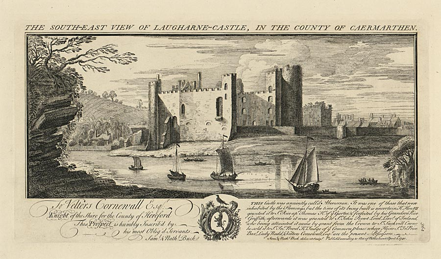 The south-east view of Laugharne-Castle, in the county of Caermarthen