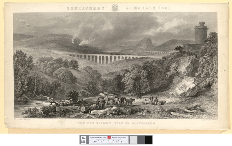 The Dee viaduct, vale of Llangollen 1861