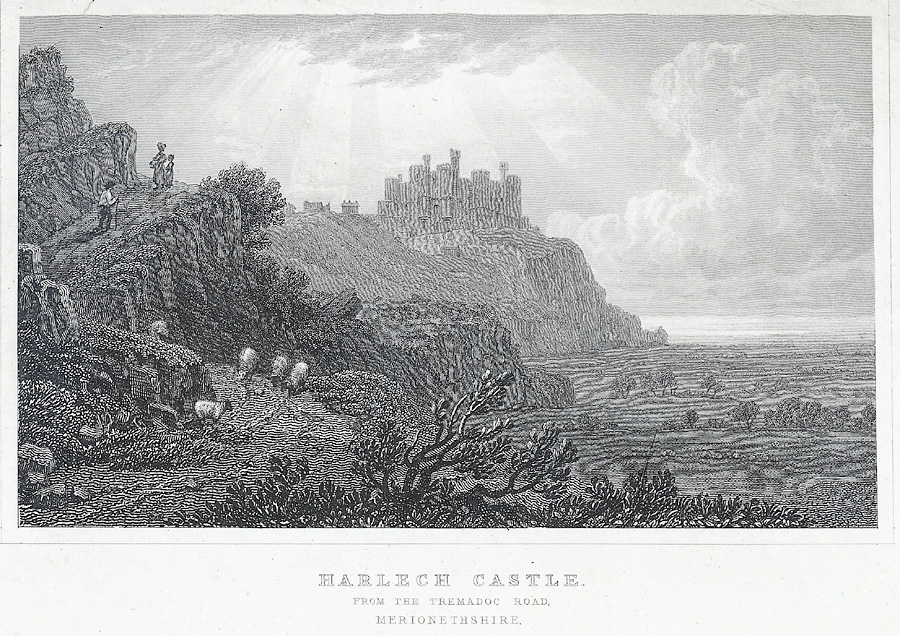 Harlech Castle, from the Tremadoc Road, Merionethshire