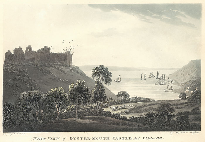 West view of Oyster-Mouth castle and village