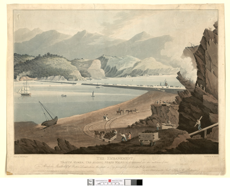 The embankment. Traeth Mawer, Tre-Madoc, north Wales; as it appeared in the autumn 1810