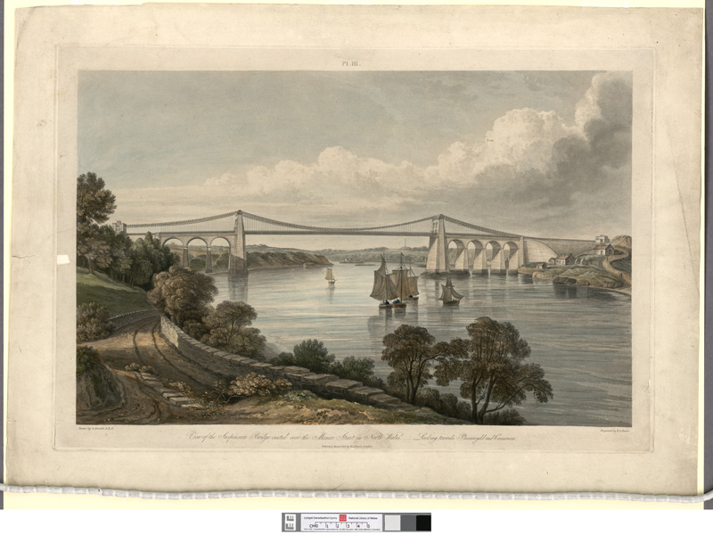 View of the Suspension Bridge erected over the Menai Strait north Wales_looking towards Plasnewydd and Carnarvon