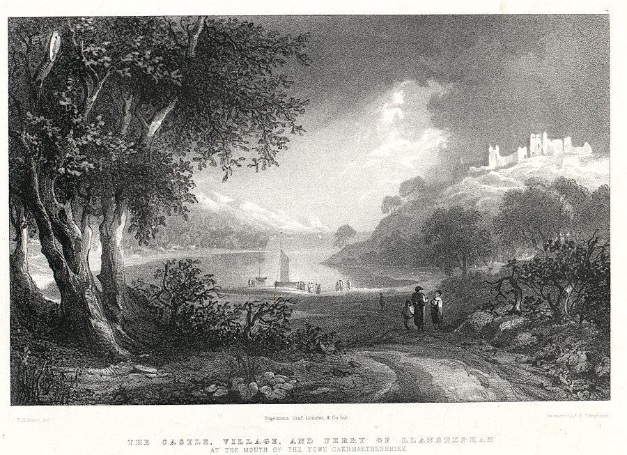 The Castle, village, and ferry Of Llanstephan at the mouth of the Towy, Caermarthenshire