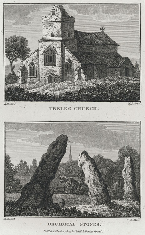 Treleg Church. (and) Druidical Stones. (two images)