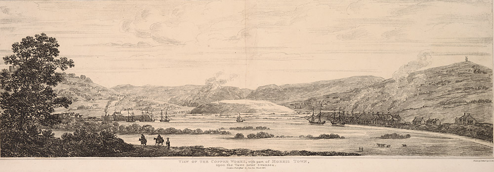 View of the Copper works, with part of Morris town, upon the Tawe near Swansea