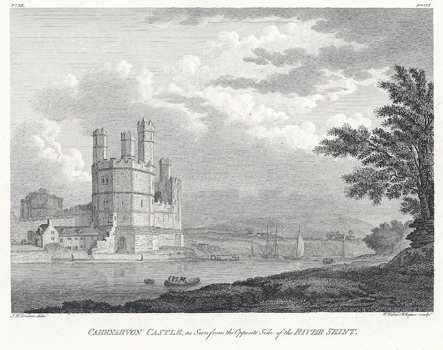 Caernarvon Castle, as seen from the opposite side of the River Seint