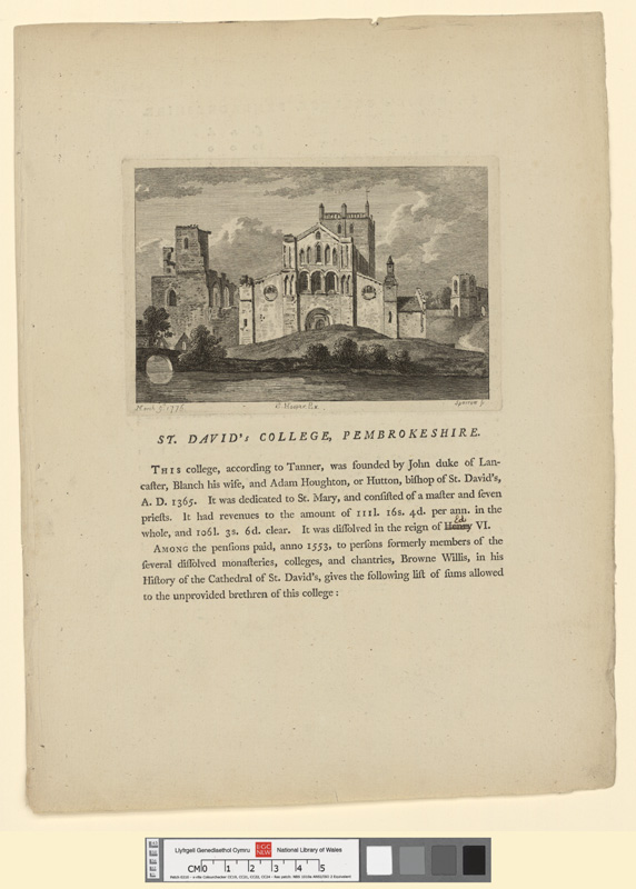 St. David's College, Pembrokeshire March 9th 1776