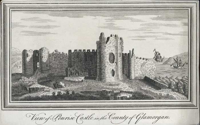 View of Penrise castle in the county of Glamorgan