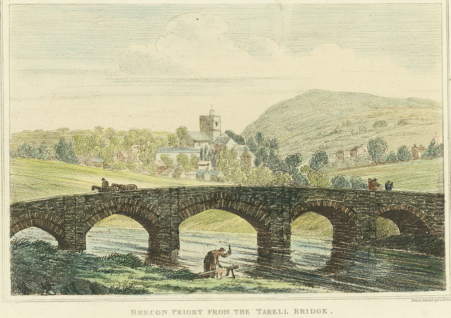 Brecon Priory From The Tarell Bridge