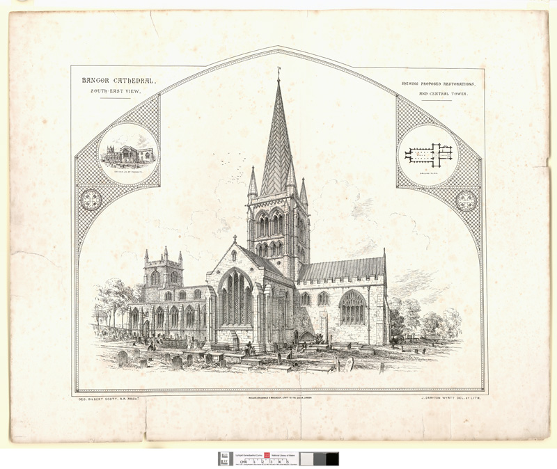 Bangor Cathedral, south-east View, Showing Proposed Restorations