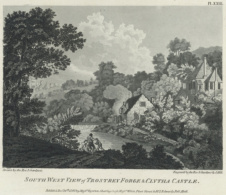 South West View of Trostrey Forge & Clytha Castle