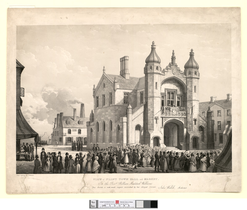 View of Flint town hall and market. To the Revd. W. Maddock Williams