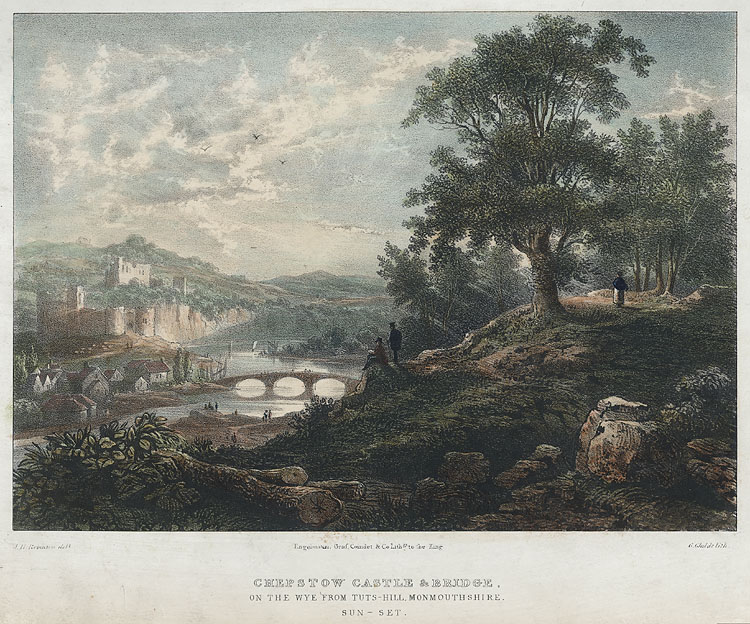 Chepstow Castle & bridge, on the Wye from Tuts-Hill, Monmouthshire