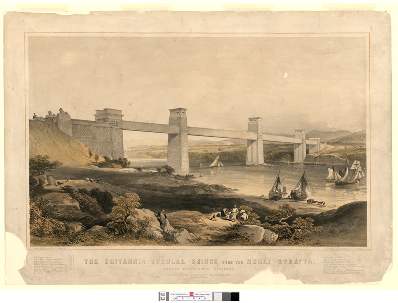 The Britannia Tubular Bridge over the Menai Straits. Robert Stephenson engineer