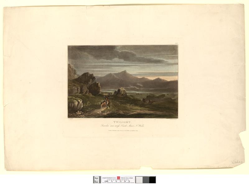 Twilight. Snowdon seen across Traeth Mawr, n. Wales