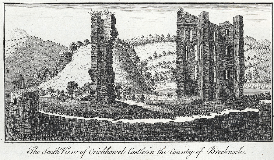 The south view of Crickhowel Castle in the county of Brecknock