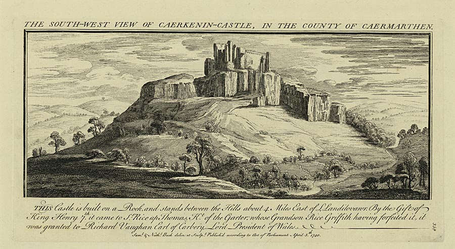 The south-west view of Caerkenin-Castle, in The county of Caermarthen